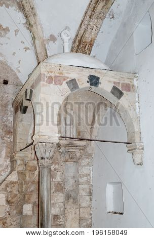 Jerusalem Israel July 14 2017 : Fragment of the interior of the Room of the Last Supper in Jerusalem Israel.