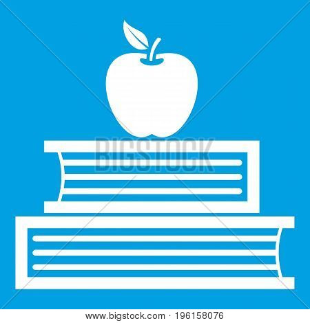 Books and apple icon white isolated on blue background vector illustration