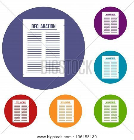 Declaration of independence icons set in flat circle red, blue and green color for web