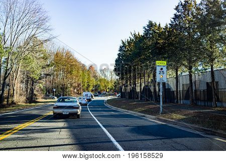 Fairfax, Usa - December 15, 2016: Cars Waiting In Traffic For Robinson Secondary School Students To