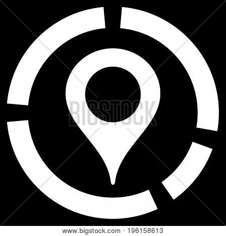 Map Marker Diagram vector icon. Flat white symbol. Pictogram is isolated on a black background. Designed for web and software interfaces.