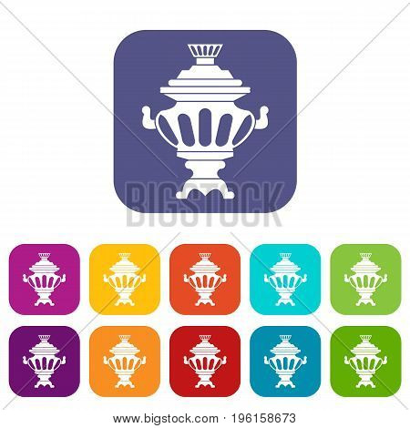 Russian tea samovar icons set vector illustration in flat style in colors red, blue, green, and other