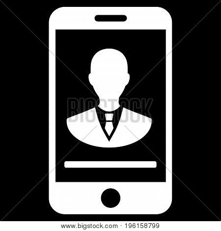Mobile Manager Contact vector icon. Flat white symbol. Pictogram is isolated on a black background. Designed for web and software interfaces.