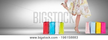 Digital composite of Woman Shopping joyfully with vignette