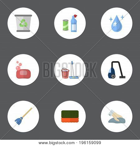 Flat Icons Aqua, Besom, Foam And Other Vector Elements