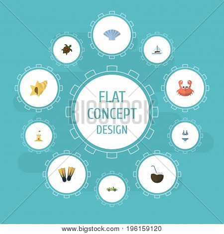 Flat Icons Tortoise, Cocos, Car And Other Vector Elements