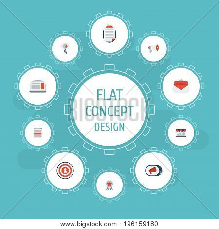 Flat Icons Message, Laptop, Megaphone And Other Vector Elements
