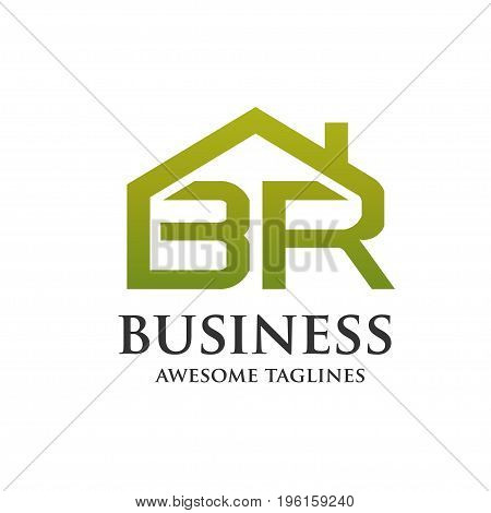 letter BR property logo vector base from letter B and R with roofing