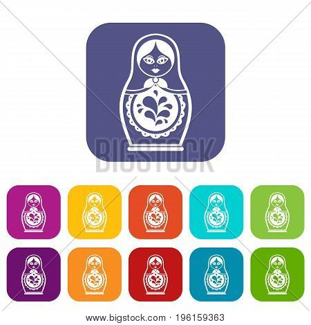 Matryoshka icons set vector illustration in flat style in colors red, blue, green, and other