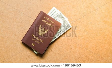 Thailand Passport with money for travel plan, Holiday