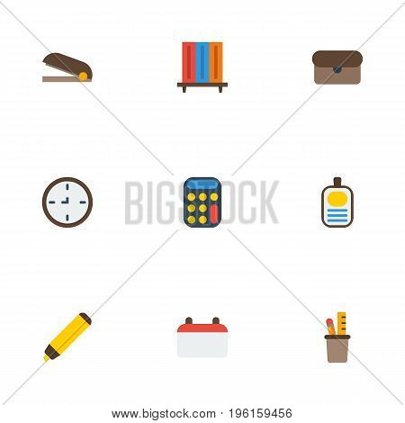 Flat Icons Watch, Date, Identification And Other Vector Elements