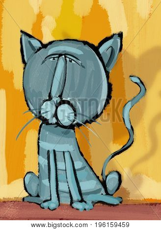 Digital Painting Illustration of Cat Animal Character