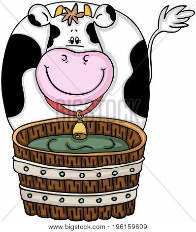 Scalable vectorial image representing a cute cow with wood barrel, isolated on white.