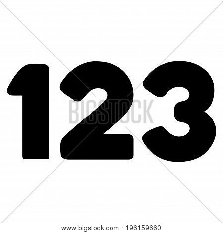 Digits vector icon. Flat black symbol. Pictogram is isolated on a white background. Designed for web and software interfaces.
