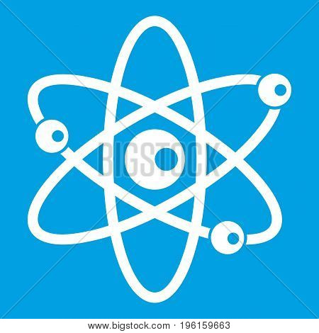 Molecules of atom icon white isolated on blue background vector illustration