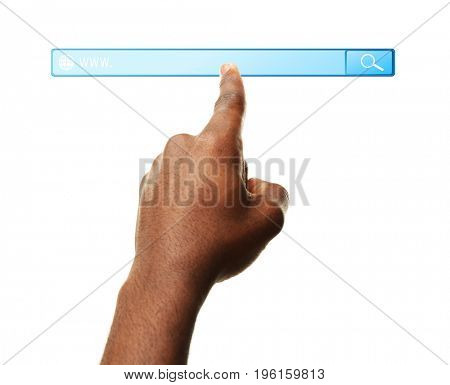 Internet shopping concept. Man clicking on browser search bar, white background
