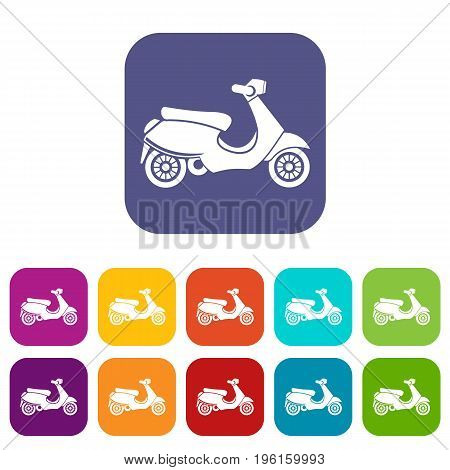 Vespa scooter icons set vector illustration in flat style in colors red, blue, green, and other