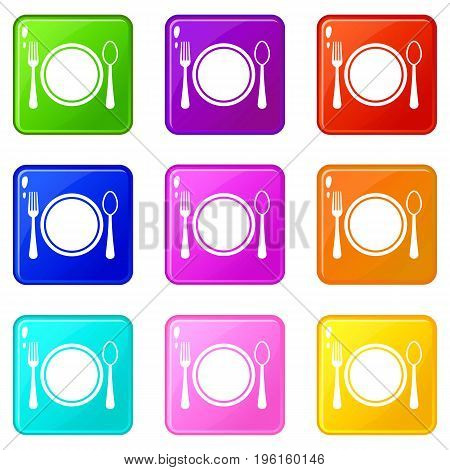 Place setting with plate, spoon and fork icons of 9 color set isolated vector illustration