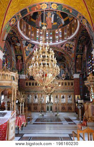 SIANA RHODES ISLAND GREECE - JULY 7 2015: Interior of Saint Panteleimon orthodox church