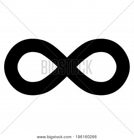 Infinity vector icon. Flat black symbol. Pictogram is isolated on a white background. Designed for web and software interfaces.