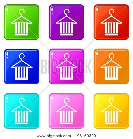 Scarf on a coat hanger icons of 9 color set isolated vector illustration