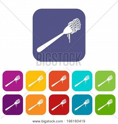 Spaghetti on a fork icons set vector illustration in flat style in colors red, blue, green, and other