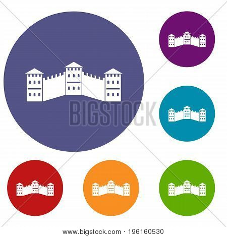 Great Wall of China icons set in flat circle red, blue and green color for web