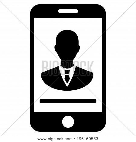 Mobile Manager Contact vector icon. Flat black symbol. Pictogram is isolated on a white background. Designed for web and software interfaces.