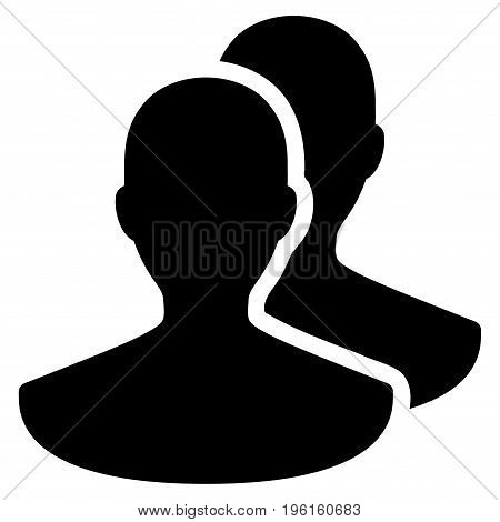 Persons vector icon. Flat black symbol. Pictogram is isolated on a white background. Designed for web and software interfaces.