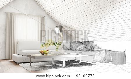 Attic living room interior design planning CAD draft with sofa (3D Rendering)