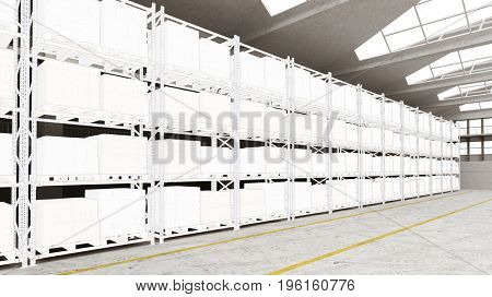 CAD drawing for planning of warehouse in 3D with many storage boxes (3D Rendering)