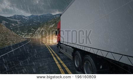 Delivery forwarding agency druck driving in the rain (3D Rendering)