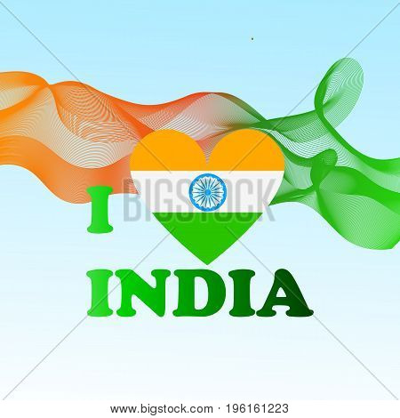Independence Day India creative vector illustration in national flag colour republic country flag indian holiday. Concept for india independence day celebration.