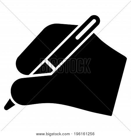 Signature Hand vector icon. Flat black symbol. Pictogram is isolated on a white background. Designed for web and software interfaces.