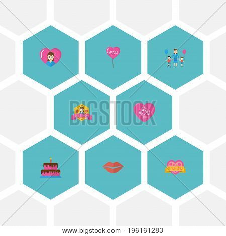 Happy Mother's Day Flat Icon Layout Design With Pastry, Emotion And Sticker Symbols