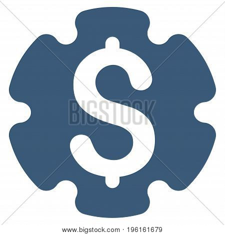 Financial Settings Gear vector icon. Flat blue symbol. Pictogram is isolated on a white background. Designed for web and software interfaces.