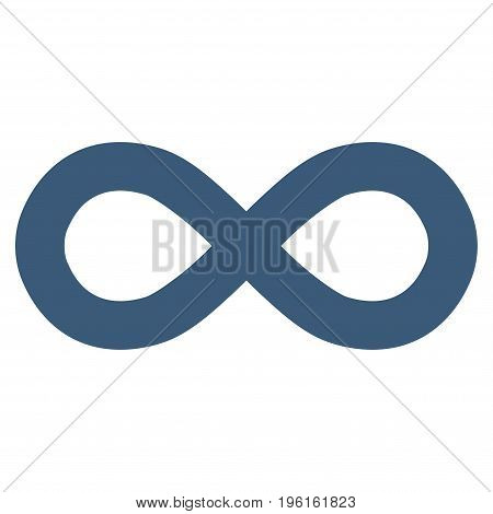 Infinity vector icon. Flat blue symbol. Pictogram is isolated on a white background. Designed for web and software interfaces.