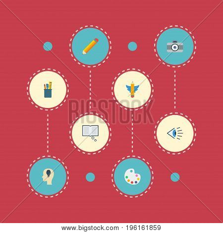 Flat Icons Idea, Pen, Science And Other Vector Elements