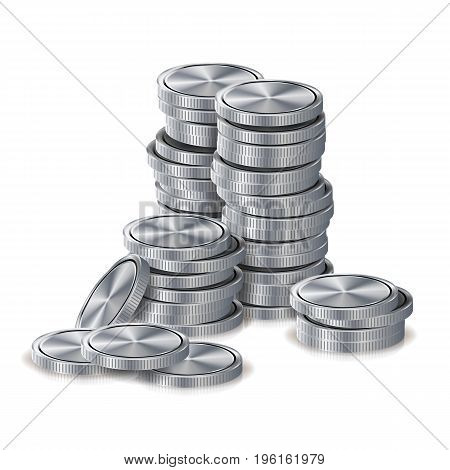 Silver Coins Stacks Vector. Silver Finance Icons, Sign, Success Banking Cash Symbol. Investment Concept. Realistic Currency Isolated Illustration