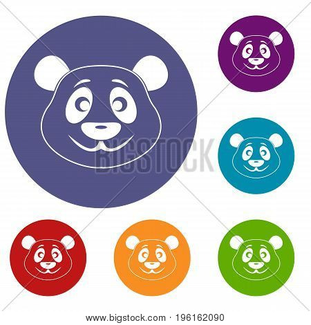 Panda icons set in flat circle red, blue and green color for web