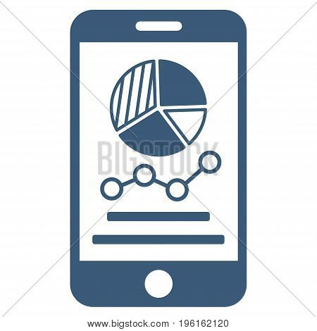 Mobile Graphs vector icon. Flat blue symbol. Pictogram is isolated on a white background. Designed for web and software interfaces.