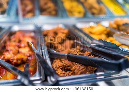 Fried Chicken Buffet Bar Self Serve Catering With Tongs
