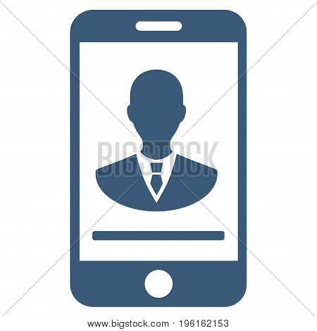 Mobile Manager Contact vector icon. Flat blue symbol. Pictogram is isolated on a white background. Designed for web and software interfaces.
