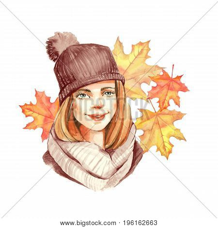 Cute cartoon girl and autumn leaves, watercolor