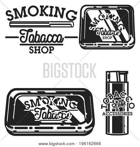 Color vintage tobacco shop emblems. Smoke shop. Gentleman club badge, tobacco retail symbol vector illustration.