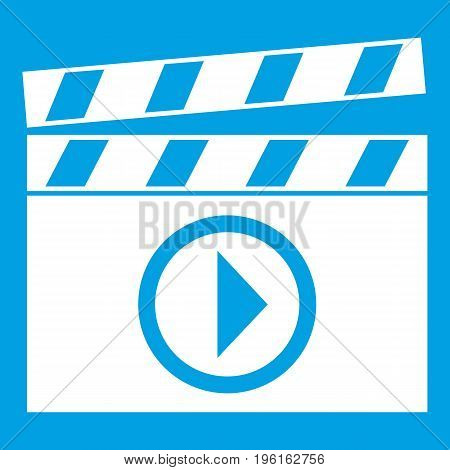 Clapperboard for movie shooting icon white isolated on blue background vector illustration