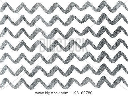 Silver Hand Drawn Stripes Background, Chevron.