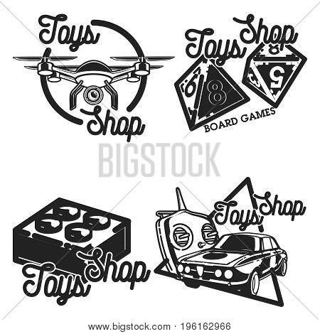 Color vintage toys shop emblems with design elements. Vector illustration, EPS 10