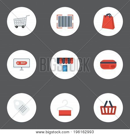 Flat Icons Pouch, Qr, Shop And Other Vector Elements