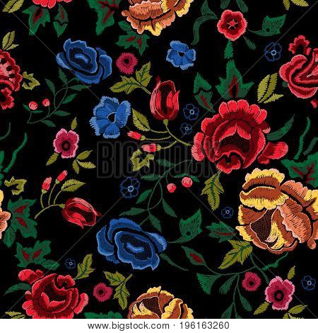 Embroidery seamless pattern with red and blue roses. Vector embroidered floral bouquet sketch with flowers for clothing design.